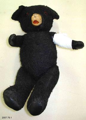 Black synthetic fur teddy bear