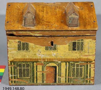 Box, Needlework: Painted cottage-shaped workbox