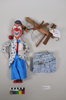 Clown marionette used with the Merrie Midgets marionette theatre