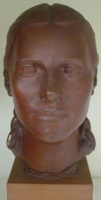 """Sculpture, portrait head, title: """"Ngarita"""""""