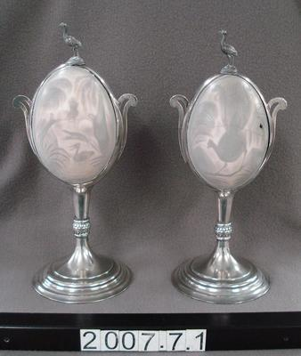 Pair of silver-mounted carved emu eggs