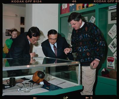Negative: Three Men Rugby Museum