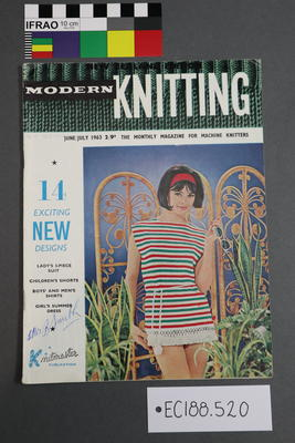 "magazine, knitting pattern: ""Modern Knitting - The Monthly Magazine for Machine Knitters"", June/July 1963 (NZ edition)."