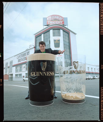 Negative: Jim O'Malley With Giant Guinness