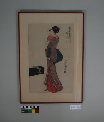 Woodblock print of a woman