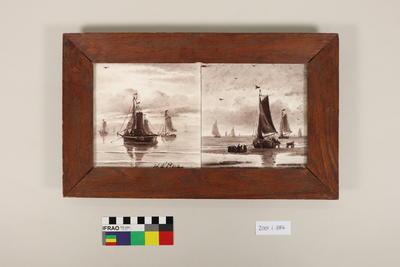 Pair tiles in wooden frame
