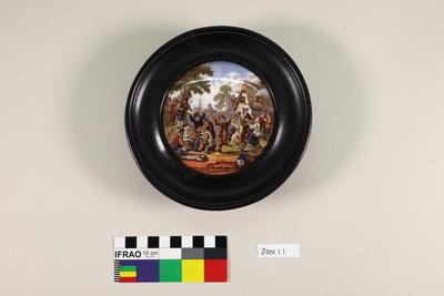 Pot lid, framed