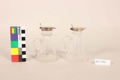 Pair noggin decanters