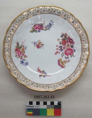 Dish: Floral with Gold Edging