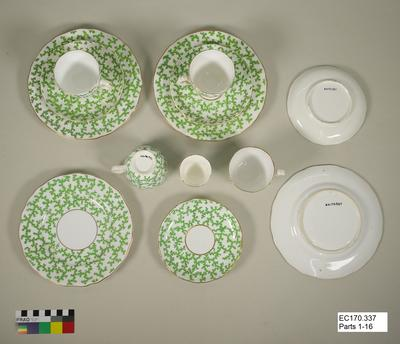 Partial Dinner Service: Green and White