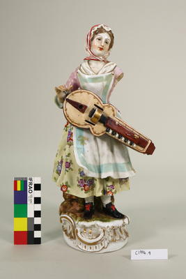 figurine, female with instrument