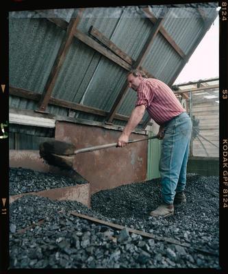Negative: Man Shovelling Coal