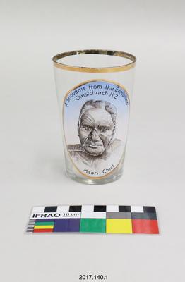 Drinking glass: Souvenir of Christchurch Exhibition 1906