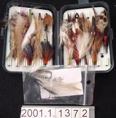 Fishing flies in container