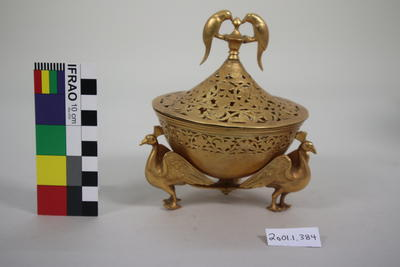 Gilded brass container