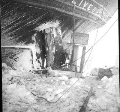 Lantern slide: Crushed rudder of Aurora and jury rudder