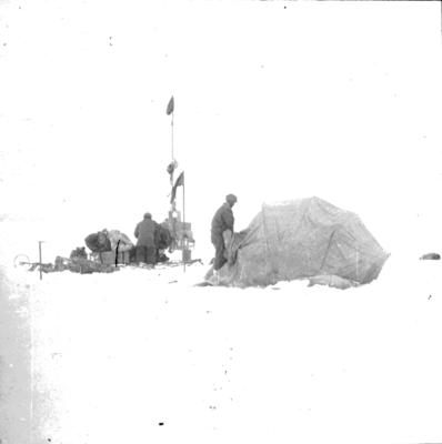 Lantern slide: Making camp, Imperial Trans-Antarctic expedition