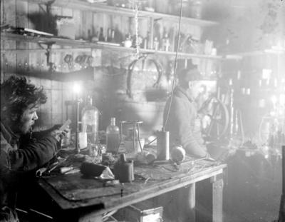 Photographic negative: Richards and Jack in lab