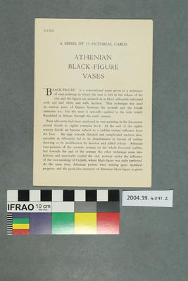 Set of Postcards Illustrating Athenian Black Figure Vases