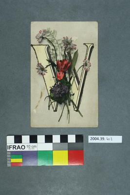 Postcard of a W and flowers