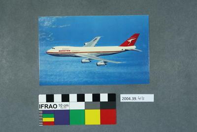 Postcard of a Qantas 747B aeroplane