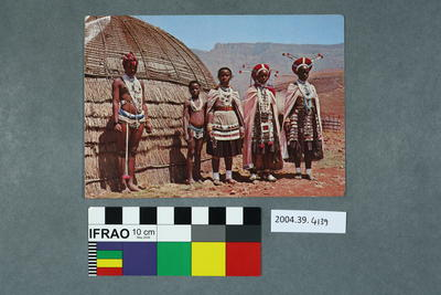 Postcard of Zulus in tribal attire