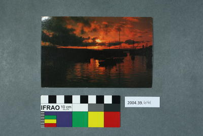 Postcard of sunset over Kirkwall Harbour