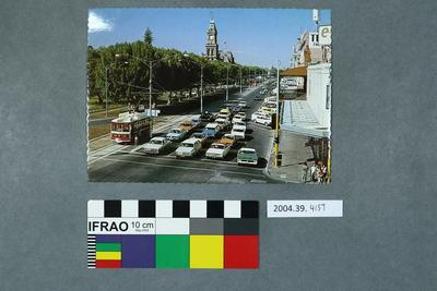 Postcard of a busy city street