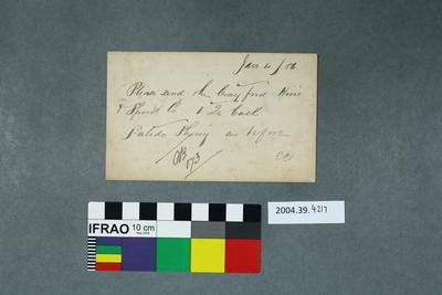 Postcard of a handwritten message