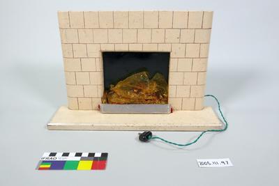 Prop: Dark cream painted wooden fireplace