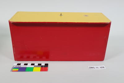 Prop: Red and yellow painted wooden stand