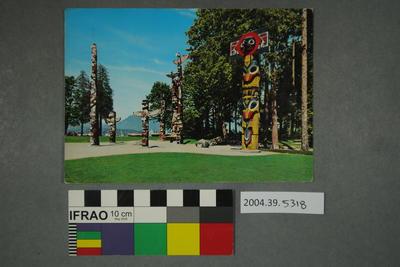 Postcard of totem poles