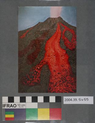 Postcard display of erupting volcano
