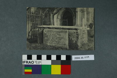 Postcard of a tombstone