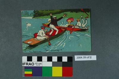 """Postcard: """"Up The River Hi! Clumsy!!"""""""