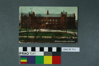 Postcard: Whitworth Institute, Manchester