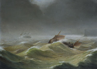 Painting: Deal Boat Going to Save the Crew of a Ship on the Sands