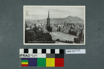 Postcard: A Bit of Old Edinburgh and Arthur's Seat from the Castle