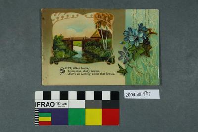 Postcard: Poem and stream scene
