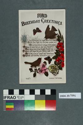 Postcard: Fond Birthday  Greetings