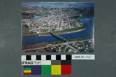 Postcard: Aerial view of a bridge and town