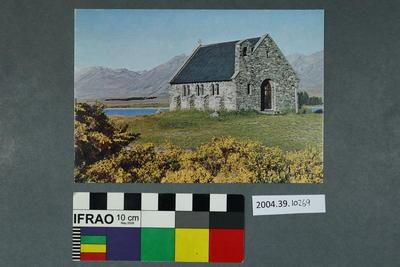 Postcard: Church and mountains scene