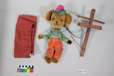 Prop: Teddy bear wearing a apricot velvet trousers