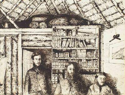 Drawing: Inside of Hut Looking Towards my Bedroom