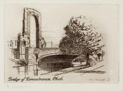 Etching: Bridge of Remembrance, Ch.Ch.