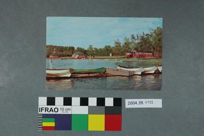 Postcard: Boats on a wharf