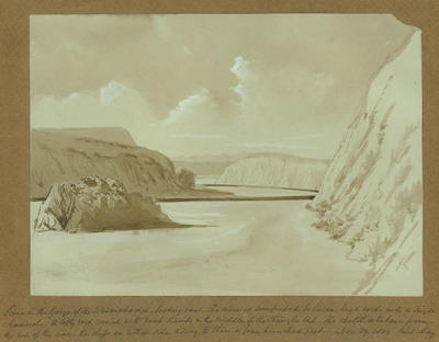 Painting: Scene in the gorge of the Waimakariri looking East