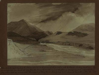 Painting: View from the high bank of the Waimakariri at the points of its junction with the Kowai, looking northwest