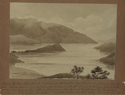 Painting: Akaroa Harbour from path to Pigeon Bay, Aspect SE