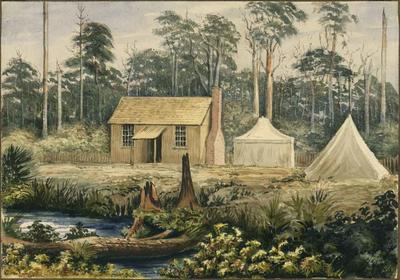 Painting: House and Tents occupied by Mr Godley, 1852